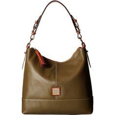 Dooney & Bourke Pebble Sophie Hobo (Olive/Tan Trim) Hobo Handbags ($180) ❤ liked on Polyvore featuring bags, handbags, shoulder bags, brown, white handbags, hand bags, handbags purses, hobo purse and shoulder handbags