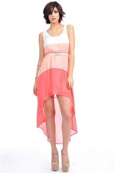 Block It Dress - Peach