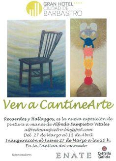 Cartel exposición de pintura de Alfredo Sampietro Vitales en la Cantina del Mercado