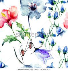 Seamless wallpaper with wild flowers, watercolor illustration by Regina Jershova, via ShutterStock