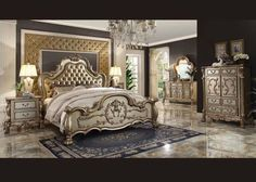 6 Pc Dresden Gold King Bedroom Set