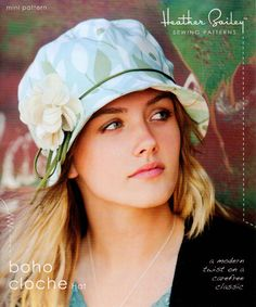 Heather Bailey Boho Cloche Hat Pattern- A modern twist reminiscent of the flapper hat from the Roaring Twenties. Hat Patterns To Sew, Sewing Patterns Free, Pattern Sewing, Fleece Hat Pattern, Paper Patterns, Free Pattern, Boho, Heather Bailey, Flapper Hat