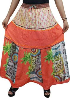 Indiatrendzs Printed Women's Flared Multicolor Skirt Bohemian Skirt, Bohemian Style, Bohemian Summer, Boho Girl, Boho Wedding, Vintage Fashion, India, Long Skirts, Printed