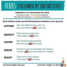 Verbs followed by INFINITIVES #learnengish