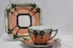 """Shelley cup saucer & plate-""""Trees & Sunset"""" pattern 11513"""