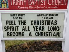 Trinity Baptist Church Christiansburg, VA Christmas Sign