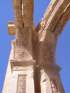 Detail from the Great Arch of Palmyra. The Great Colonnade at Palmyra was the main colonnaded avenue in the ancient city of Palmyra in the Syrian Desert. The colonnade was built in several stages during the second and third century CE and stretched for more than a kilometer.