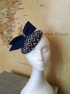 Navy blue knitted fabric covered pillbox hat by FrogAndCrown17