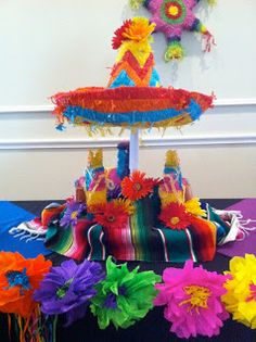 The Posh Pixie: Mexican Party Table Decorations, cute for the kids! Mexican Party Decorations, Party Table Decorations, Party Centerpieces, Decoration Table, Table Party, Centerpiece Ideas, Mexican Fiesta Party, Fiesta Theme Party, Cumpleaños Diy