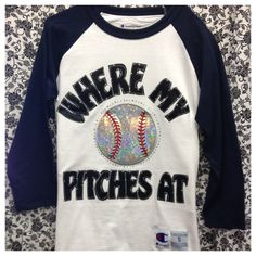 Bling Sleeve Baseball t-Shirt Where My Pitches At from ThreadsToo on Etsy. Saved to Epic Wishlist. Softball Shirts, Softball Mom, Baseball Mom, Baseball Stuff, Baseball Outfits, Softball Clothes, Baseball Videos, Softball Crafts, Softball Stuff