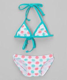 Chalmon's Pink & Blue Polka Dot Bikini - Infant & Toddler   zulily
