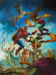 Spider-Man vs the Sinister Six plus the Green Goblin by Boris Vallejo & Julie Bell (Marvel comics) Marvel Comics, Hq Marvel, Marvel Heroes, Comic Art, Comic Kunst, Comic Books Art, Boris Vallejo, Julie Bell, Amazing Spiderman