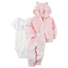 Carter's Baby Girl Happy Little Lady Bodysuit, Hooded Cardigan & Kitty Striped Pants Set Baby Outfits, Kids Outfits, Baby Set, Joggers Outfit, Carters Baby Girl, Cute Baby Clothes, Unisex Baby, Baby Bodysuit, Baby Kids