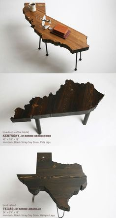 I want one of these state tables. They come in every state...you can even pick the type of wood you want and legs! Brilliant!