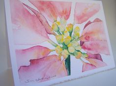 SALE - 50% off - Poinsettia Watercolor Christmas Card - 5x7 (set of 10)