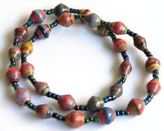 Paper Bead Jewelry - Short Necklace - #1228