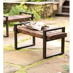 Plow & Hearth Reclaimed Wood and Iron Outdoor Garden Bench & Reviews | Wayfair