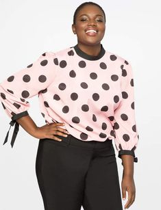 View our Printed Blouse with Bow Cuff and shop our selection of plus size designer women's Tops, plus size clothing and fashionable accessories. Plus Size Jeans, Plus Size Tops, Plus Size Women, Dresses To Wear To A Wedding, Formal Dresses For Women, Fall Dresses, Plus Size Retro Dresses, Plus Size Outfits, Womens Trendy Tops