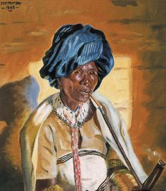 "dynamicafrica: ""Traditional Portraits by South African Artist George Pemba. Born Milwa Mnyaluza ""George"" Pemba in Korsten, Port Elizabeth, in Pemba is most known for his paintings depicting. African American Artist, American Artists, African Culture, African History, Social Realism, South African Artists, Africa Art, Art Database, Women Smoking"