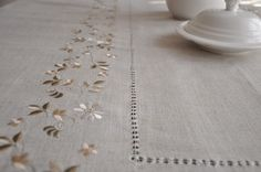 Huge linen embroidered table cloth for dinner home decor exclusive style