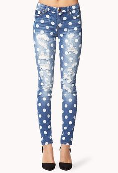 Destroyed Polka Dot Skinny Jeans | FOREVER21 Crazy about #PolkaDots #Denim #Destroyed
