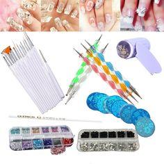 Nail Art Tool Kit Set Dotting Painting Crystals Rhinestones Drawing Polish Brush Pen Picker Pencil Tool Nail Striping Tape 2AU25