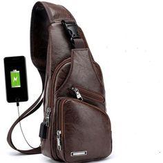 Crossbody Business Leather USB Shoulder Chest Men's Bags - cheapsalemarket