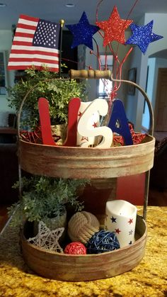 50 Unique Farmhouse Fourth July Decor Ideas That Inspire You - Page 12 of 50 - Choti Decor decorations fourth of july Fourth Of July Decor, 4th Of July Decorations, 4th Of July Party, July 4th, Table Decorations, Centerpieces, Galvanized Tiered Tray, Planners, Tiered Stand