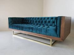 Custom Milo Baughman Style Solid Walnut Encased sofa with black Naugahyde. With your choice of fabric or upgrading to top grain leather. All built in house to clients needs. Comes in smetal base with powercoated chrome finish, with options of different styles and colors options. Brass