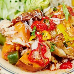 Try your hand at making gumbo with the help of celebrity chef Jamie Oliver. Also known as Jamie's 'surf Chef Jamie Oliver, Chicken Gumbo, Surf And Turf, Plum Tomatoes, Chef Recipes, Fish And Seafood, Chicken Recipes, Celebrity Chef, Stuffed Peppers