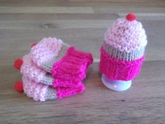 Set of four hand knitted cupcake egg cosies by LoopsandLavender, £5.00