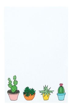 """Happy Cactus Designs Cactus Notepad This 50 sheet 4"""" x 6"""" notepad features hand-drawn potted cacti and succulents at the bottom. Also available as a 5"""" x 7"""" art print!"""