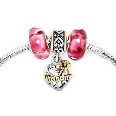 Murano Glass Silver Plated Filigree Heart Flower Grandma Beads Set BraceletPandora Compatible   Charmsstory.com   #grandma #pandora #charms #heart #love #glass #charmbracelet