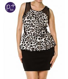 fa978a0724 Sexy plus size mini dress designed with a peplum top with mesh inserts with  a leopard print pattern