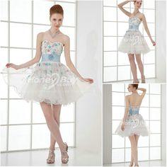 Handmade Beading Organza White Short Prom Dress