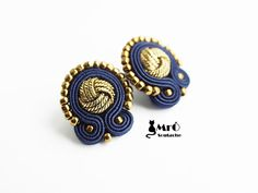 The navy blue and gold earrings soutache GOOD PRICE by MrOsOutache