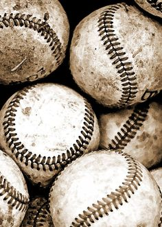 Baseball Photography Art Sepia Sports Print Bucket of Balls Boy's Room Photography - 5 x 7 art print by Dawn Smith on Etsy, $20.00