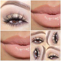 MAC Soft Brown in the crease,Clinique Deep Brown gel line,Lips:MAC 3N & Strip Down lip pencil.
