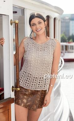 Shirts & Tops, Tank Tops, Knitting Paterns, Knitting Designs, Crochet Blouse, Crochet Top, Knit Fashion, Lace, Model