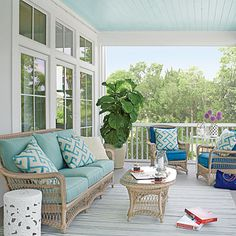 """Choose What Lasts The back porch is all about durability—from all-weather Sunbrella fabrics to water- and warp-resistant AZEK flooring. """"..."""