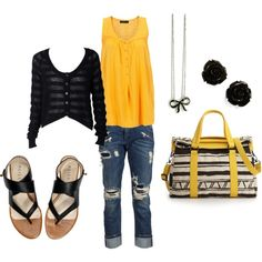Yellow & Black, created by tbeecroft on Polyvore