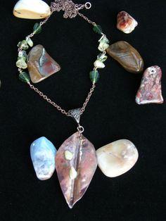 Autumn Leaf Copper Pendant Citrine Peridot by ArtOfNatureCreations