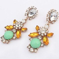 awesome Bohemia Colorful Dangle Earrings Shiny Crystal Flower Pendant Piercing Jewelry