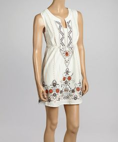 This Off-White & Rust Floral Sleeveless Dress by Aryeh is perfect! #zulilyfinds