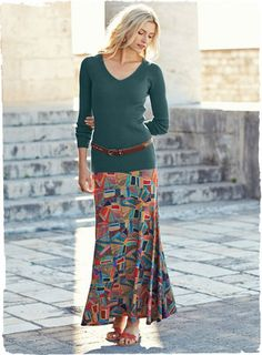 The intriguing jersey maxi-skirt is printed in a batik-inspired pattern of jeweltones. In viscose (95%) and elastane (5%), with a contoured yoke and sweeping A-line hem.=129.<3<3