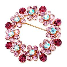 Pugster 22k Golden Plated Wreath Flower October Birthstone Light Rose Pink Swarovski Crystal Diamond Accent Brooches Pins Pugster. $14.99. Occasion: casual wear,anniversary, bridal, cocktail party, wedding. Money-back Satisfaction Guarantee.. One free elegant cushioned Gift box available with every order from Pugster.. Can be pinned on your gown or fastened in your hair with bobby pins.. Exquisitely detailed designer style with Swarovski cystal element.