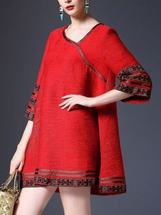 Red Embroidered 3/4 Sleeve Pn bns e  HI BO .';;, olyester Mini Dress