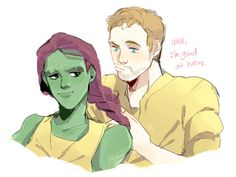 fanart of Peter Quill braiding Gamora's hair, inspired by a Chris Pratt interview. by sodamu1002