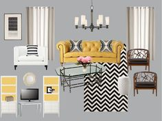 living room. yellow couch/white/black
