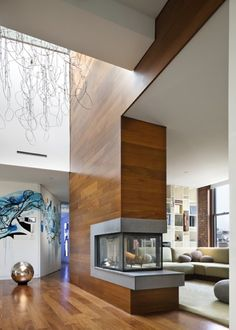 Modern interior design - minimalist design fireplace to go with the modern kitchen